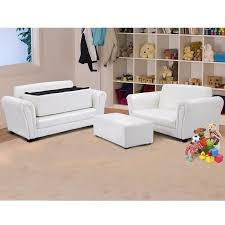Shop Black White Kids Double Sofa With Ottoman White On Sale Overstock 28423583
