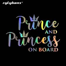 New Car Styling 15cm 10 3cm Car Stickers Prince And Princess On Board Vinyl Fun Window Car Sticker Decal For Auto Products Aliexpress