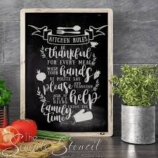 Kitchen Rules Vinyl Decal Sign Cute Kitchen Self Adhesive Decals