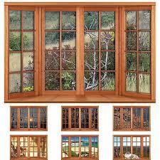 Faux Fake Window Illusion Posters Wooden 4 Pane Bay Window Various Views Ebay