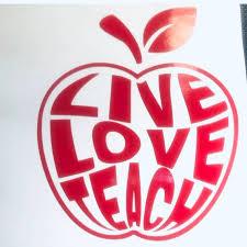 Teacher Apple Live Love Teach Decal Education Decal Etsy