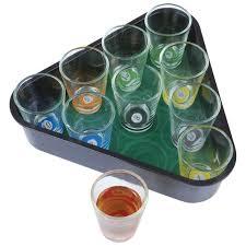 11 pc pool rack shot glasses game the
