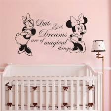 Hot Nursery Bedroom Decor Minnie Mouse And Daisy Decal Kid Room Quotes Wall Sticker Mural Vinyl Minnie Mouse Room Decoration W078 In Wall Stickers From Home Garden Peony Bridal Bouquet