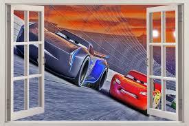 Cars 3 Movie Disney 3d Window Decal Wall Sticker Lightning Mcqueen Home Art J203