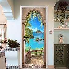 3d Sea Balcony Arch Door Wall Sticker Self Adhesive Mural Photo Wall Decal Sale Banggood Com