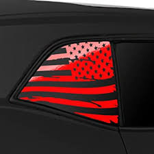Amazon Com Bogar Tech Designs Quarter Window Distressed American Flag Vinyl Decal Compatible With And Fits Challenger 2008 2020 Gloss Red Automotive