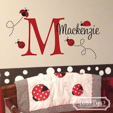 Ladybug Monogram Vinyl Wall Decal For Toddler Room Or Nursery