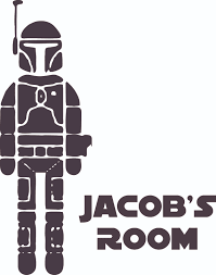 Boba Fett Star Wars Character Design Customized Wall Art Vinyl Decal Custom Vinyl Wall Art Personalized Name Baby Girls Boys Kids Bedroom Decal Room Wall Sticker Decoration Size 10x10