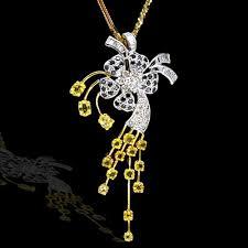 yellow sapphire diamond las pendant
