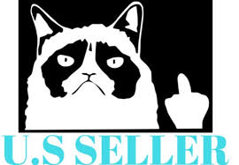 Grumpy Cat Middle Finger Flipping Off 6 5 X 4 5 Etsy