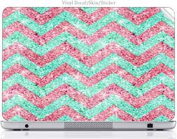 Amazon Com Laptop Vinyl Decal Sticker Skin Print Pink Teal Chevron Not Real Glitter Print Design Image Fits 15 6 Hp Pavilion 15 D038dx Computers Accessories