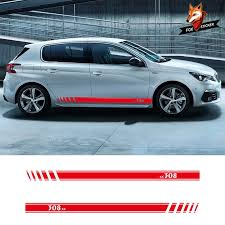 2 Pcs Vinyl Car Side Stripes Sticker Auto Door Decals Graphics Side Stripe Skirt Decal Sticker For Peugeot 308 Car Styling Car Stickers Aliexpress