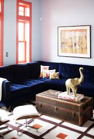decorate home with blue velvet sofa