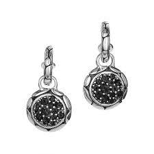 kali black sapphire drop hoop earrings