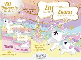 Kit Imprimible Unicornio Invitaciones I Candy Cumpleanos