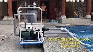 Thiết bị máy xe đẩy vệ sinh lọc nước hồ bơi bể bơi di động - YouTube