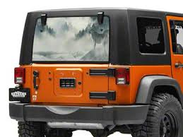 Sec10 Jeep Wrangler Perforated Wolf Rear Window Decal J130876 87 21 Jeep Wrangler Yj Tj Jk Jl