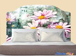 Distressed Vintage Daisy Flower Headboard Decal Graphic Vinyl Sticker Bedroom Wall Home Decor