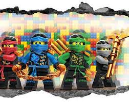 Lego Ninjago Wall Stickers Kids 3d Decal Breakout Smashed Wall Art Home Bedroom Lego Decorations Kids Room Wallpaper Wall Stickers Kids