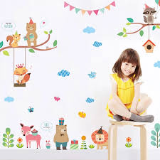 Cute Forest Jungle Wild Zoo Wall Stickers Kids Room Decorations Accessories Mural Art Pvc Home Decor Diy Animals Wall Decals Wall Stickers Aliexpress