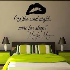 Shop Marilyn Monroe Quote Who Said Nights Were For Sleep Vinyl Sticker Interior Design Decor Sticker Decal Size 22x22 Color Black On Sale Overstock 14722228
