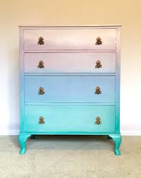Sold Sold Unicorn Ombre Handpainted Chest Of Drawers In Green Etsy