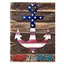 designocracy rustic patriotic anchor home of the brave quote