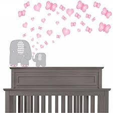 Pink And Grey Elephant Wall Decals Elephants Wall Stickers With Pink Butterflies And Heart Wall Decals Walmart Com Walmart Com