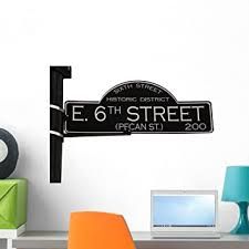 Amazon Com Wallmonkeys 6th Street Austin Texas Wall Decal Peel And Stick Graphic 24 In W X 16 In H Wm277071 Home Kitchen