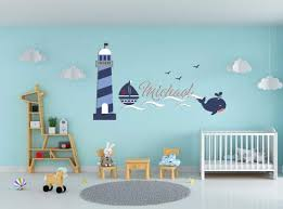 Amazon Com Custom Name Waves Lighthouse Birds And Whale Animal Series Nautical Theme Baby Boy Wall Decal Nursery For Home Bedroom Children Mm13 Wide 24 X14 Height Arts Crafts Sewing