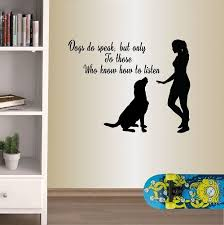 Winston Porter Dogs Do Speak Quote Girl And Dog Wall Decals Wayfair