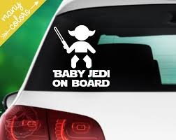 Baby Jedi On Board Vinyl Decal Star Wars Baby On Board Etsy