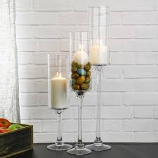 contemporary glass long stem candle holder