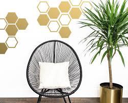 Large Honeycomb Wall Decals Hexagon Vinyl Decals Geometric Decals Gold Decals Living Room Decals Vinyl Wall Decals Wall Stickers