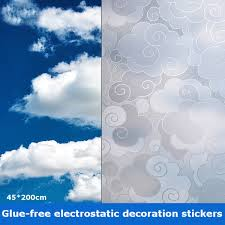 Cloud Pattern Window Film Stained Glass Film 3d Frosted Window Decal Decorative Window Cling No Glue Removable Window Stickers Walmart Com Walmart Com