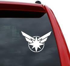 Amazon Com Black Heart Decals More Captain Marvel Logo Vinyl Decal Sticker Color White 3 5 X 5 Automotive