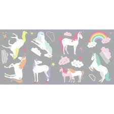 Roommates 5 In X 11 5 In Unicorn Magic 23 Piece Peel And Stick Wall Decals Rmk3628scs The Home Depot
