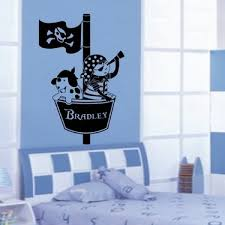 Cool New Personalized Name Pirates Crows Nest Wall Sticker Home Decal Vinyl Ship Bedroom Boys Art Vinyl Murals Decor Wallpaper Wish