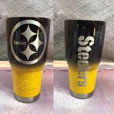 Pittsburgh Steelers Custom Powder Coated Cups No Stickers No Vinyl 100 Powder Coat Need A Cup Hit Me Up The Cup Plug Powder Coated Cups Glassware Cup