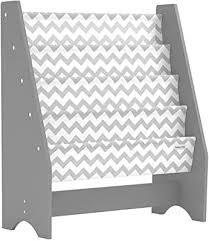 Amazon Com Pidoko Kids Bookshelf Grey With Chevron Wooden Children S Sling Bookcase With Pocket Storage Book Rack Canvas Gray Furniture Decor