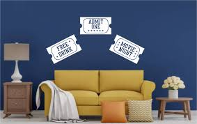 Movie Tickets Wall Decals Home Theater Stickers Whimsi Decals Whimsidecals