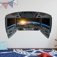 Vwaq Spaceship Cockpit Wall Decal Outer Space Window Stickers Cp8 Walmart Com Walmart Com