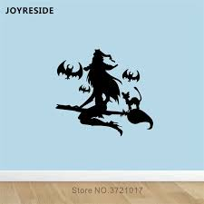 Joyreside Witch With Bats Wall Decal Flying Witch Wall Sticker Cartoon Vinyl Decor Home Baby Bedroom Decor Interior Design A1097 Wall Stickers Aliexpress