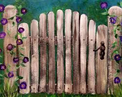 Rustic Garden Gate Wood Fence With Morning Glory Flowers Free Acrylic Painting Tutorial On Youtube Flower Art Painting Acrylic Painting Flowers Canvas Painting