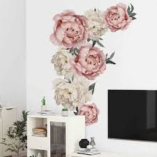 71 5x102cm Large Pink Peony Flower Wall Stickers Romantic Flowers Home Decor For Bedroom Living Room Diy Vinyl Wall Decals Wall Stickers Aliexpress