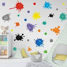 Amazon Com Multicolor Paint Wall Decal Splatter And Splotches Wall Sticker For Art Room Nursery Decoration Watercolor Paint Splash Room Decor Ink Splotch Wall Stickers Arts Crafts Sewing