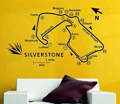 Amazon Com Wall Vinyl Decals Silverstone Race Track Circuit Map F1 Moto Gp Decor Art Vinyl Wall Sticker Decal Made In Usa Home Kitchen