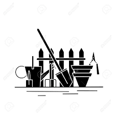 Black Silhouette Of Gardening Tools Watering Can Shovel Rake Royalty Free Cliparts Vectors And Stock Illustration Image 154950699
