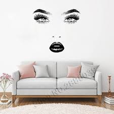 Girl Face Wall Decal Model Girl Eyes Lips Mural Fashion Beauty Salon Decoration Make Up Wall Sticker Vinyl Home Decor New Lc556 Leather Bag