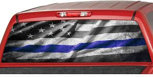 Amazon Com Motorink American Flag B W Police Blue Thin Line Usa Rear Window Graphics Decal Tint Perforated Sticker For Truck Vinyl Pickup Wrap Custom Size Up To 29 X 66 Automotive